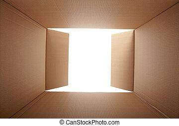 caixa papelão, dentro, vista