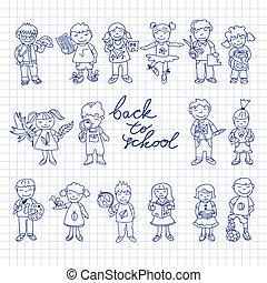 caixa papelão, jogo, doodle, crianças