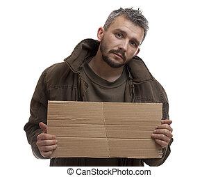 caixa papelão, mendigo, segurando