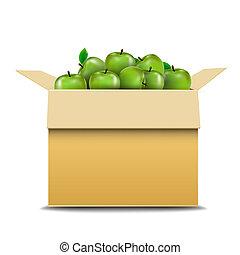 caixa papelão, recipiente, maçãs