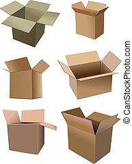 caixa papelão, sobre, jogo, caixas, isolado