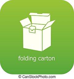 caixa papelão, vetorial, verde, dobrando, ícone