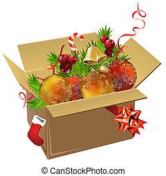 caixa papel, cheio, de, natal, bolas, e, decoração, branco