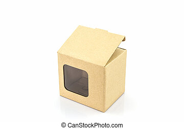 caixa, papel marrom, janela., transparente