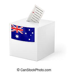 caixa, paper., austrália, voto, votando