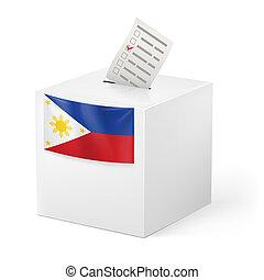 caixa, paper., votando, voto, filipinas