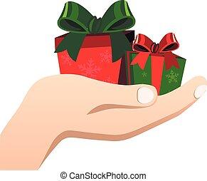 caixa, parabéns, presente, mãos