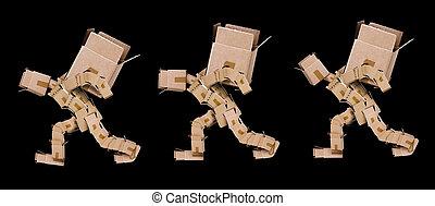 caixa, pesado, personagem, três, caixas, levantamento