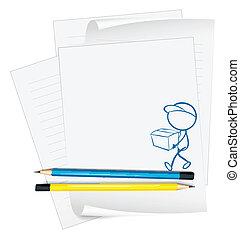 caixa, pessoa, esboço, papel, segurando