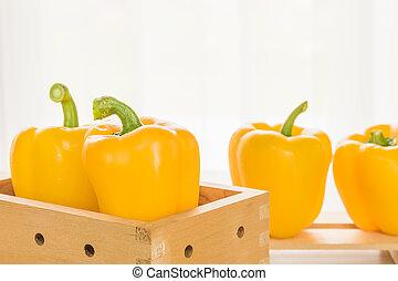caixa, pimentas, fresco, amarela, sino