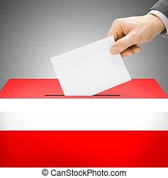 caixa, pintado, nacional, -, bandeira, áustria, voto