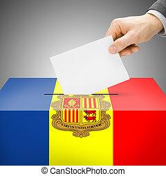caixa, pintado, nacional, -, bandeira andorra, voto