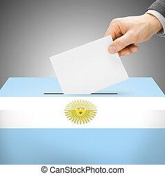 caixa, pintado, nacional, -, bandeira, argentina, voto