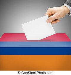 caixa, pintado, nacional, -, bandeira, arménia, voto
