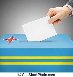 caixa, pintado, nacional, -, bandeira, aruba, voto