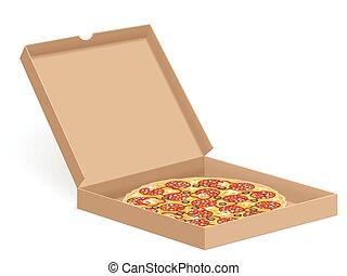 caixa, pizza