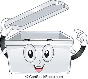 caixa, plástico, armazenamento, mascote