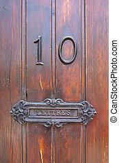 caixa, poste, porta, número, francês