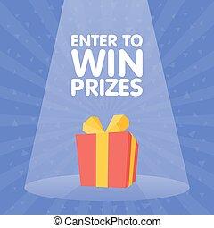 caixa, prêmio, presente, ganhe, ilustração, vetorial, entrar, holofote, vermelho