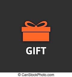 caixa presente, ícone, com, fita, apartamento, desenho