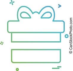 caixa presente, ícone, desenho, vetorial