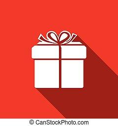 caixa presente, ícone, isolado, com, longo, shadow., apartamento, design., vetorial, ilustração