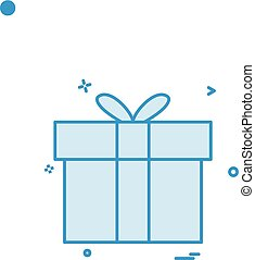 caixa presente, ícone, vetorial, desenho