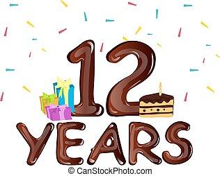 caixa, presente, 12th, aniversário, ano, desenho, celebração