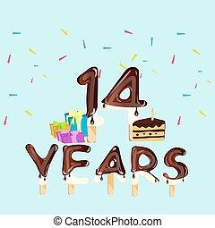 caixa, presente, 14th, bolo aniversário, cartão