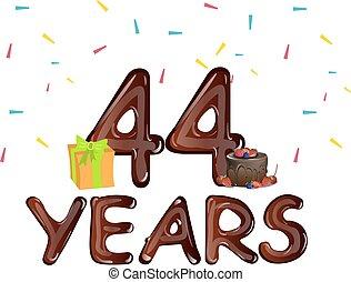 caixa, presente, 44, saudação, anos, cartões