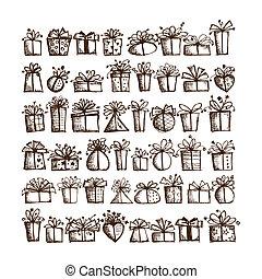 caixa, presente, 48, ícones, desenho, seu