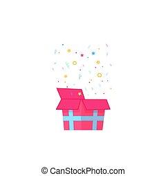 caixa, presente, abertos, estrelas, confetti, queda, fitas