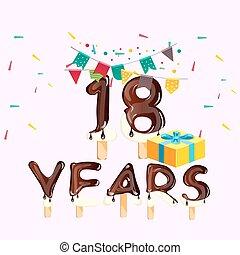 caixa, presente, aniversário, 18th, cartão, celebração