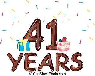 caixa, presente, aniversário, 41, bolo, anos, celebração