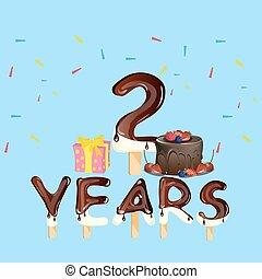caixa, presente, aniversário, anos, 2, bolo, logotipo, celebração