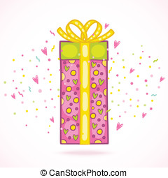 caixa, presente, aniversário, confetti., presente, feliz