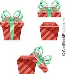 caixa presente, ano novo, caricatura, apartamento, desenho, ícone, jogo, modelo, vetorial, ilustração