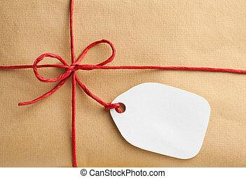 caixa presente, com, em branco, tag presente