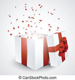 caixa, presente, confetti.
