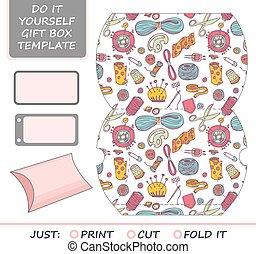 caixa, presente, dado, cut., favor, template.