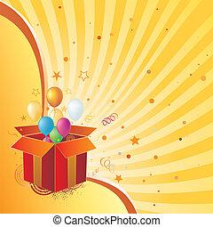 caixa presente, e, celebração