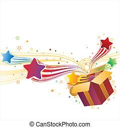 caixa presente, e, estrela