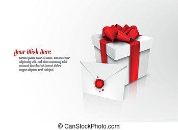 caixa, presente, envelope, arco, fita, selado, cera, natal,...