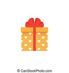 caixa presente, icon., vetorial, illustration., presente, em, apartamento, design.