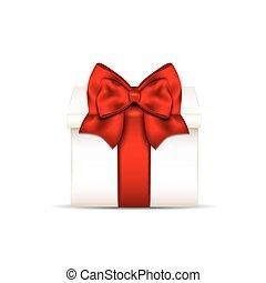 caixa, presente, isolado, arco, fundo, branco vermelho