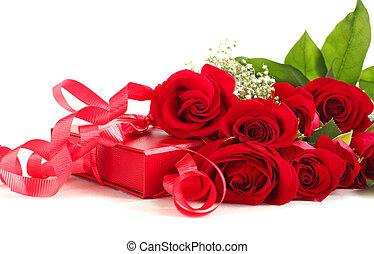 caixa, PRESENTE, rosas, fundo, branca, vermelho