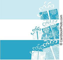 caixa, presente, seu, desenho, bandeiras, natal