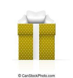 caixa, presente, simples, padrão, amarela, realístico