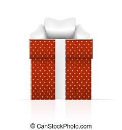 caixa, presente, simples, padrão, realístico, laranja