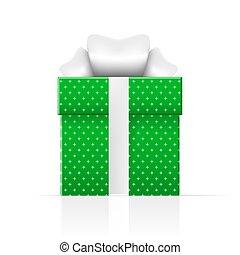 caixa, presente, simples, padrão, realístico, verde